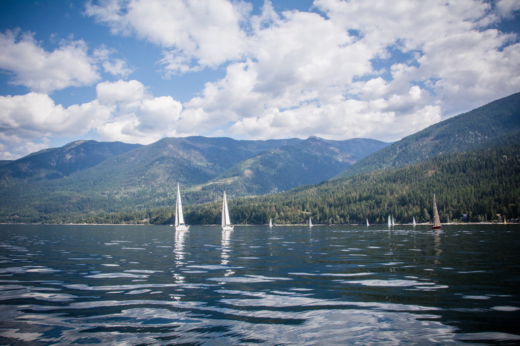 9 sailboats on the water at the Gray Creek regatta.